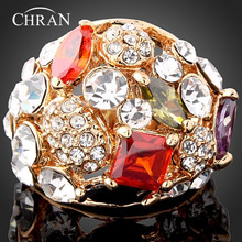 цена на Chran Charm Gold Color Crystal Ring Classic Temperament Ring European and American Popular New Products