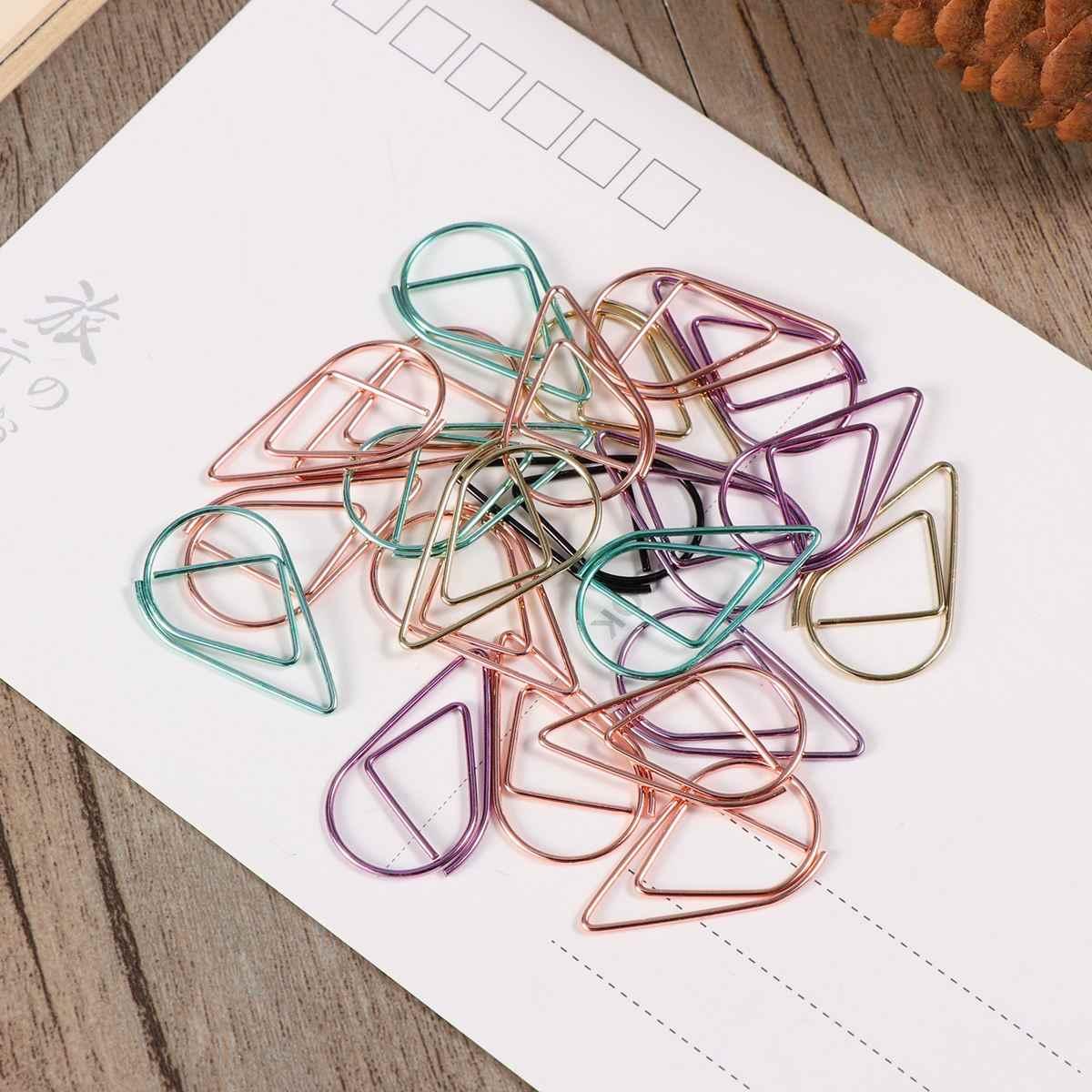 100 Pcs Logam Kecil Berbentuk DROP Klip Kertas Bookmark Penjepit Kertas untuk Buku Memo Kertas Poster Alat Kantor Dekorasi