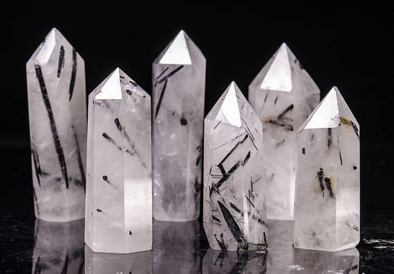 5pcs gorgeous 100% Natural black tourmaline Crystal polished single point rock crystal healing as Christmas gift