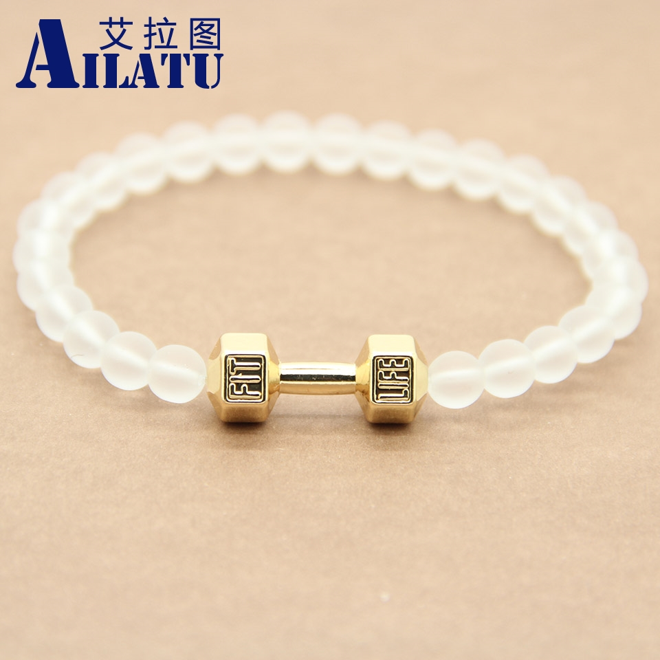 Ailatu new arrival 6mm frosted glass beads alloy fitness dumbbell bracelet men s energy gym barbell