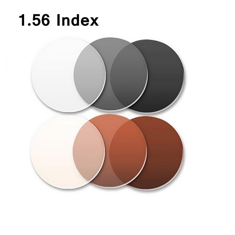 ea27a0b0e65cf Índice de 1.56 Lentes fotocromáticas Óculos Cor Miopia filme torna-se  esmaecida marrom e cinza lentes de resina miopia instalação gratuita