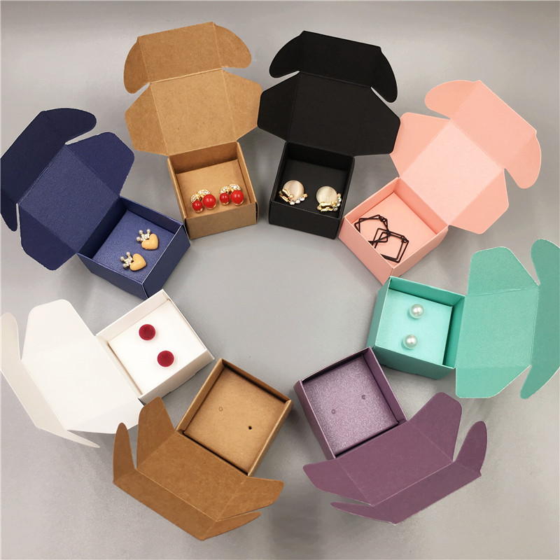 24Sets Multi Color Aircraft Shape Jewelry Boxes 24Pcs Box+24Pcs Jewelry Cards For Earrings Displays Packaging Cases 4x4x2.5cm