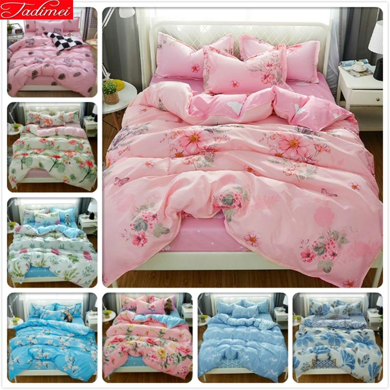 Rock & Pop Hard-Working Pink Flower Pattern Duvet Cover 4pcs Bedding Set Adult Couple Soft Bed Linen Queen King Size 200x230 220x240 Bedspreads Bedlinen