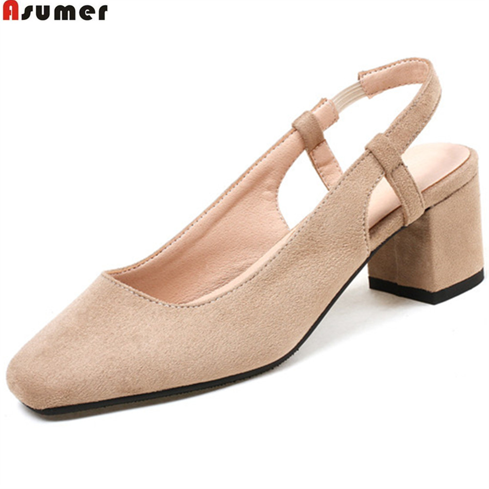ASUMER black pink square toe fashion spring autumn shoes woman comfortable square heel flock women med heels shoes size 33-44 asumer beige pink fashion spring autumn shoes woman square toe casual single shoes square heel women high heels shoes