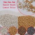 2 MM (2000 PCS) 3 MM (500 PCS) 4 MM (200 PCS) de Prata de Ouro Cor Bronze Espaçador de Cristal grânulos De Vidro, Sementes Checa Contas Para fazer Jóias DIY