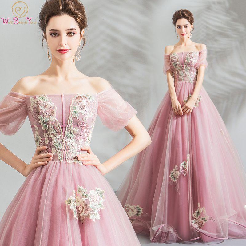 Walk Beside You Pink   Prom     Dresses   Boat Neck Short Sleeves Pattern Appliques Tulle A-line Off Shoulder Long Floor Length Lace Up