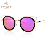 COLOSSEIN PINGLAS Modern Retro Cat Eye Sunglasses Design Street Coating Glasses Women Black Blue Frame Summer Eyewear UV400