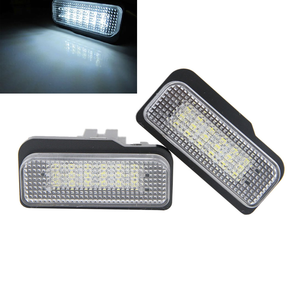 2Pc Canbus 18 SMD LED 3528 White License Plate Light No Error For Benz W203 (5D) Wagon W211 5D W219 R171