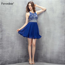 Favordear Scoop Sparkly Beading Royal Blue Homecoming Dress vestidos de  fiesta Cut-out Back Sexy 4900b7683c68