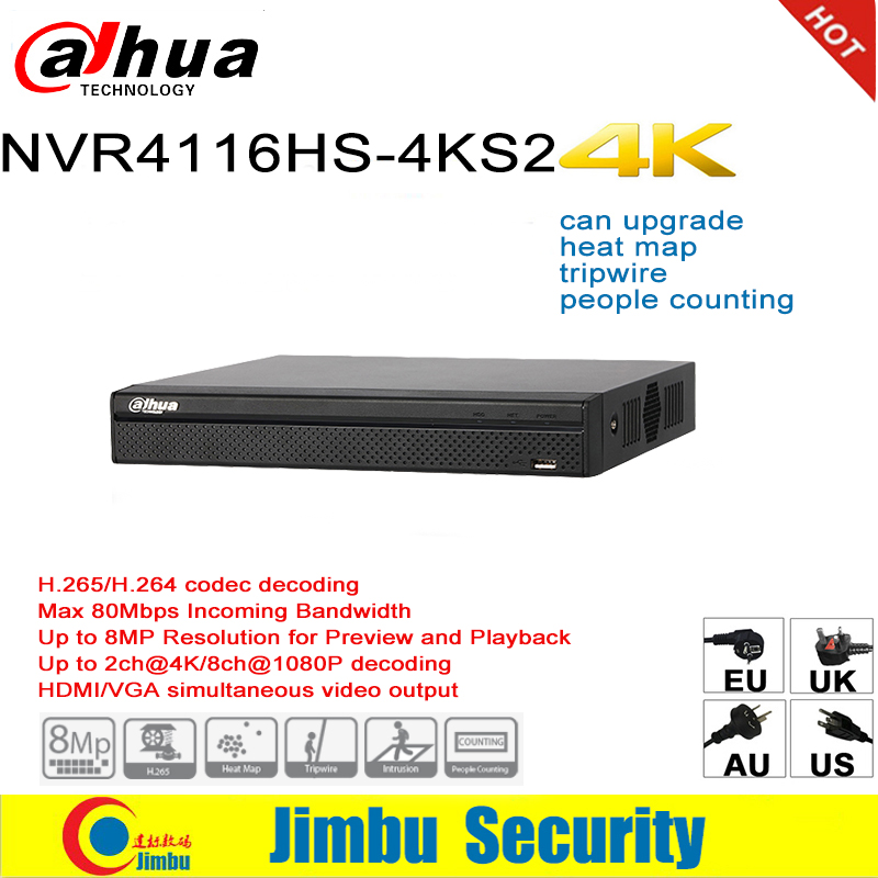 Dahua NVR 4K Network Video Recorder Easy4ip NVR4116HS-4KS2 16CH 1U 4K & H.265/H.264 Up To 8MP Tripwire For IP Camera dahua nvr616r 128 4ks2 128 channel ultra 4k h 265 network video recorder nvr free shipping