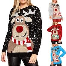 Рождественский женский свитер с рождественским оленем, теплый вязаный свитер с длинным рукавом, джемпер, топ, блузка, зимнее пальто для женщин