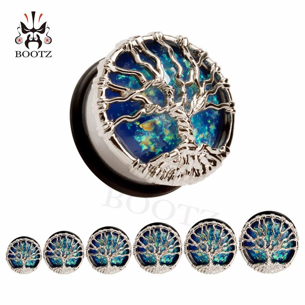 Chegada nova vida árvore de aço inoxidável único flared ear plugs túneis piercing corpo expansor calibres jóias de opala atacado