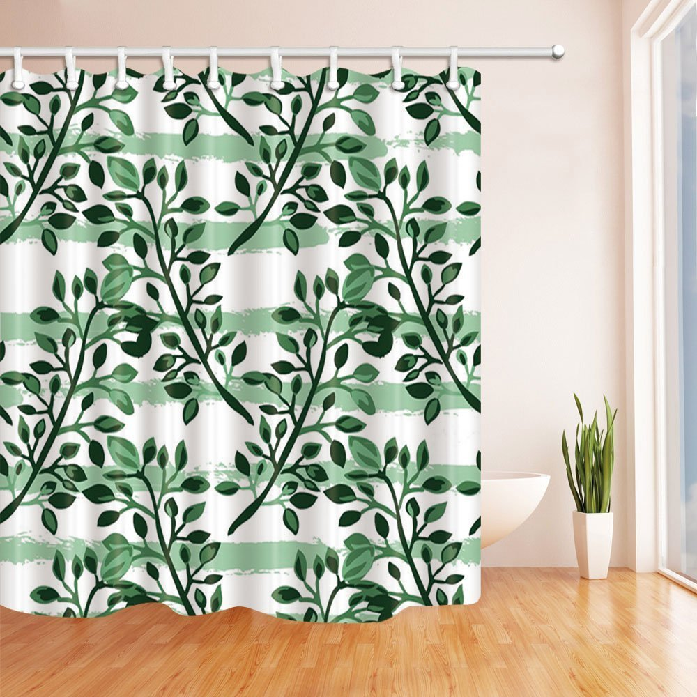 Low Cost Leaves Shower Curtains, Exotic Tropical Leaves in Green ...