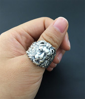 Solid Silver 925 Lion King Thick Band Rings Men 100% Solid Silver 925 Mens Jewelry Cool Gothic Male Thai Silver Ring Gift