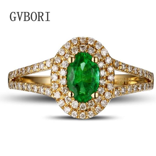 LuxuryClassic GVBORI 18K Gold Natural Emerald Green Gemstone Wedding Ring Diamond For Women Fine Jewelry