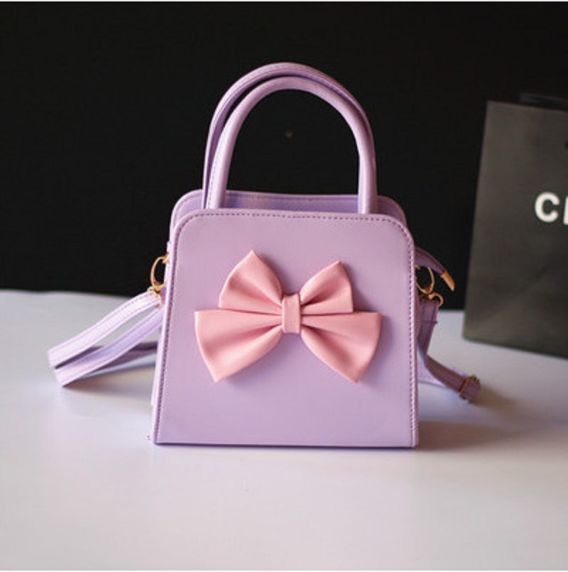 Children School Bags PU Leather Princess Bow Kids Messenger Shoulder Cross-body Small Phone Pouches For Kindergarten Baby Girls