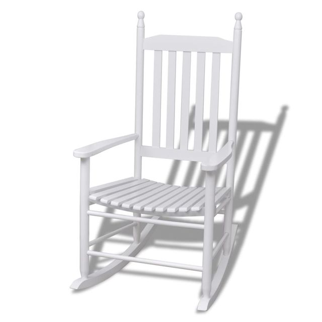 white wood rocking chair beds vidaxl curved seat in garden chairs from