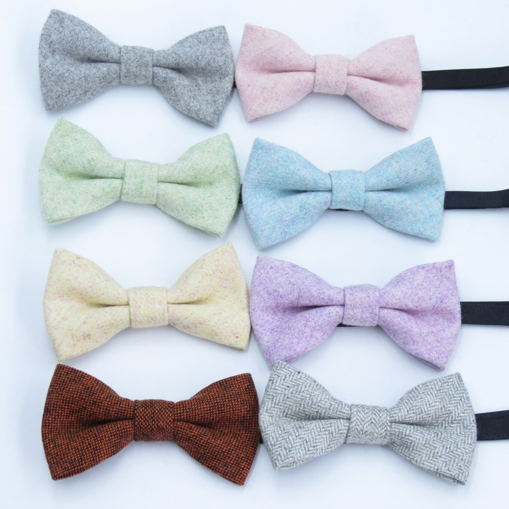 Kids Wool Bow Tie Pure Color Striped Butterfly Baby Bowtie Children Solid Ties For Party Accessories Gravata Small Cravate
