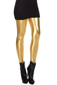 Metallic Wet Look Liquid Leggings Shiny Stretch Women Pencil Pants(gold) tahari women s nantucket breeze metallic lace blazer 10 gold