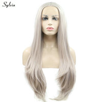 Sylvia Middle Parted Hair Ash Platinum Blonde Synthetic Lace Front Wigs Natural Straight Pastel Women Wig Long Glueless Handmade