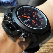 MEGIR الأصلي ساعة الرجال الرياضة كوارتز الرجال الساعات كرونوغراف ساعة معصم Relogio الوقت ساعة ساعة Reloj Hombre رجالي الساعات