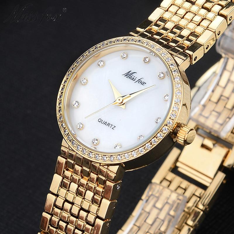 Miss Fox Brand Quartz Wrist Watches Fashion Watches Women Casual Dress Luxury Gold Ladies Rhinestone Waterproof reloje mujer