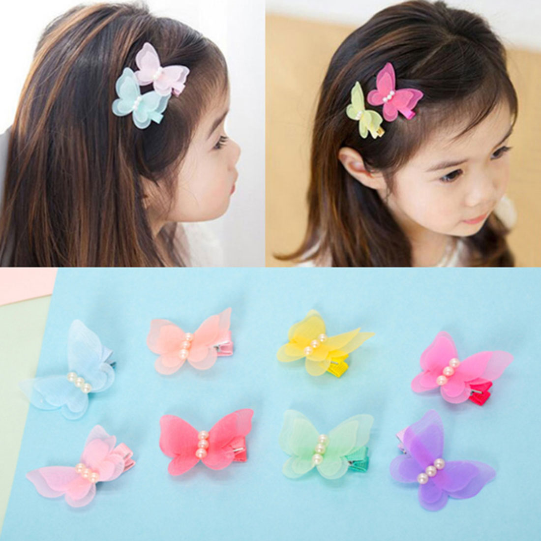 New Kids Hair Clips Hair Pin Princess   Headwear   Chiffon Pearl 3D Butterfly Hair Accessories Sweet Barrettes for Girls