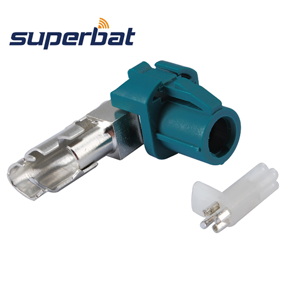 Superbat 10X Fakra Z Waterblue HSD Connettore a crimpare maschio angolo retto per Dacar 535 a 4 poli per applicazioni wireless e GPS