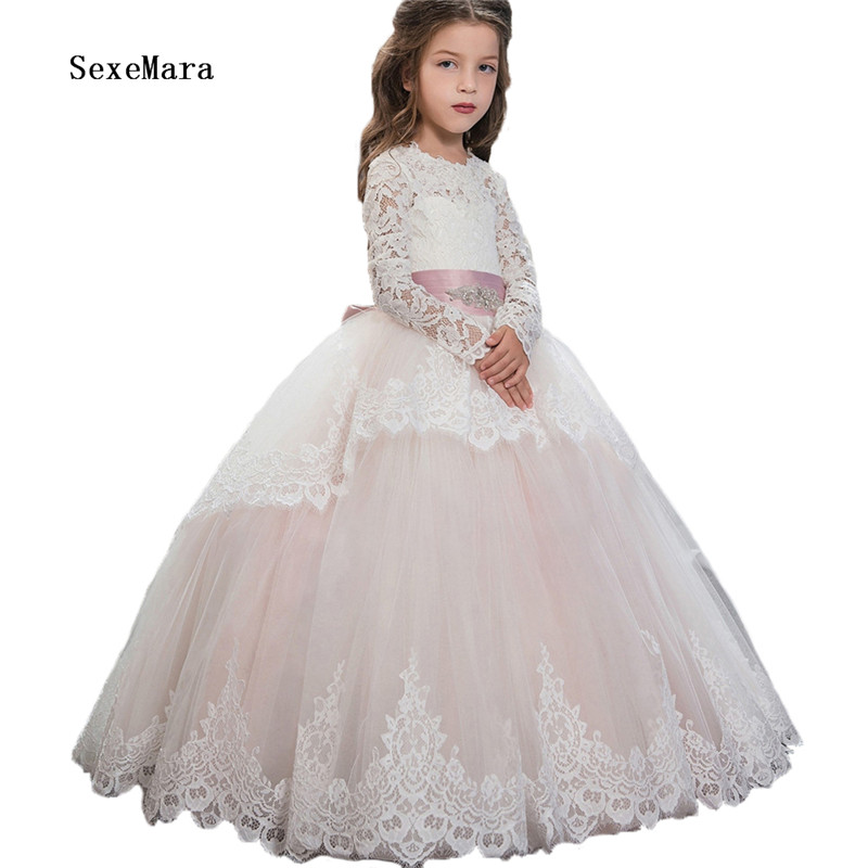 Real Photo Lace Appliques 2018 flower girls dresses with Belt Beaded Floor Length first communion dresses for girls Long Sleeves