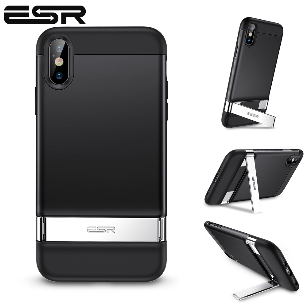 064d5e8cb ESR Case for iPhone XS XR XS Max Metal Kickstand Case Vertical and  Horizontal Stand Hard