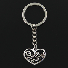 Fashion 30mm Key Ring Metal Chain Keychain Jewelry Antique Silver Plated heart super mama 20x26mm Pendant