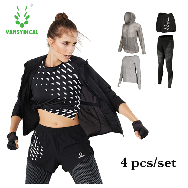 Women's sportswear training suits fitness gym yoga sets quick dry leggings and compression shirt 4pcs/set sport running clothes men compression shirts pants tights cycling base layer skin set gym training mma workout fitness yoga clothing set cpd p2l b5