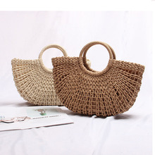 Seaside holiday straw bag beach womens handbag 2019 new ins Korean version of the hollow semi-circular portable woven
