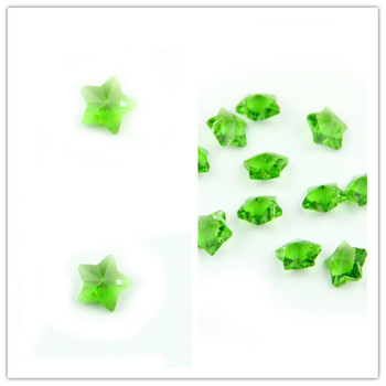 1000pcs/Lot ,Dark Green 14mm Crystal Star Beads In One Hole Crystal Prism Chandelier Beads Wedding Garland Beads Free Shipping фото