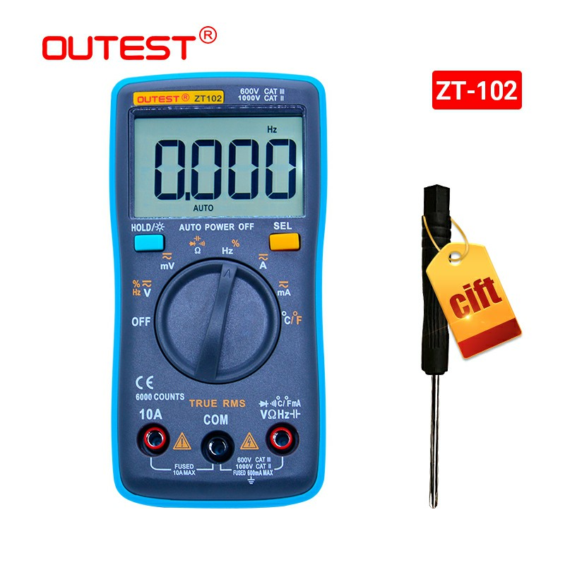 OUTEST Digital Multimeter 6000 Zählt Hintergrundbeleuchtung AC/DC Amperemeter Voltmeter Ohm Tragbare Meter Spannung Meter Ture RMS Auto/ manuelle