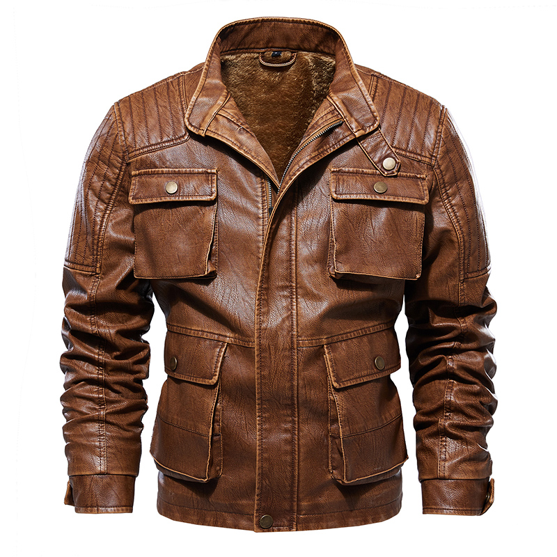 Winter Fashion Men Leather Jackets Fleece Thick Jackets And Coats Multi-pocket Motorcycle PU Leather Jacket Men Plus Size L-5XL