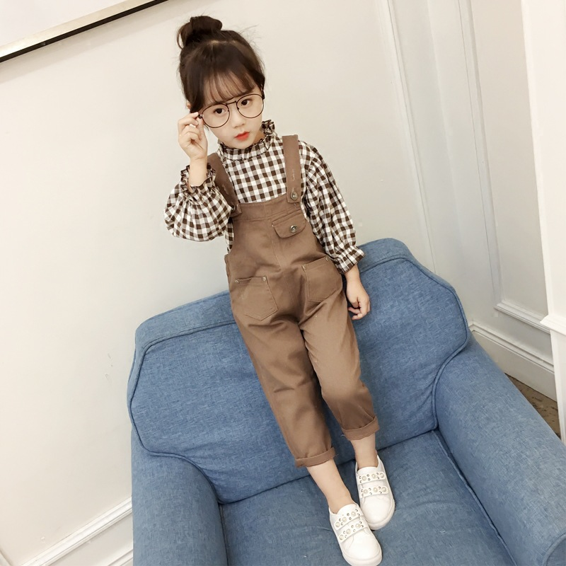 Children Girls Set 2018 Autumn Spring New Fashion Clothing Suit Kids Bow Long-sleeved Plaid Shirt + Pant Two-piece Set