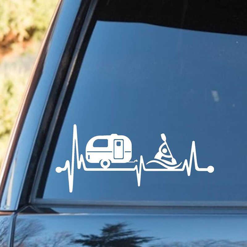 Туристический кемпер прицеп каяк сердцебиение Наклейка палатка Hiker Camper художественная задняя наклейка на окно автомобиля