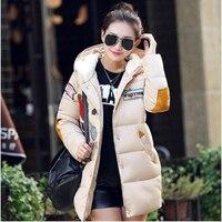 New 2016 Winter Jacket Women Military Print Parkas Duck Down Loose Fit Coat Medium Long Pathchwork