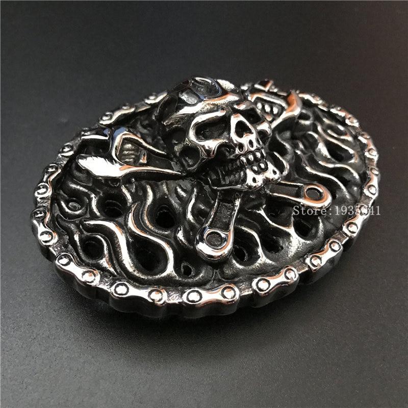 Especial de acero de titanio hebilla de Cinturón estampado cráneo hueco hebillas Fit de 4 cm de ancho cinturón de Mujer Vaqueros accesorios de ropa
