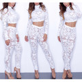 Lace Two Piece Set 2017 Spring Casual Suits Women All Lace Tops And Pants White Two Piece Set Sexy Long Sleeve Plus Size