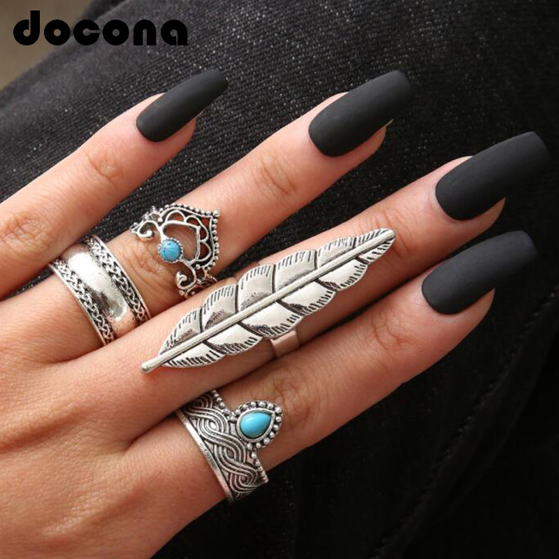 docona Retro Silver Color Leaves Green Rhinestone Rings Set for Women Girl Metal Carving Knuckle Midi Rings Set 4pcs 1set 3475 in Rings from Jewelry Accessories