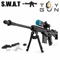 AUSINI 527 개 M107 스나이퍼 폭행 소총 총 무기 무기 모델 1:1 3D DIY 빌딩 블록 벽돌 어린이 어린이 장난감 선물