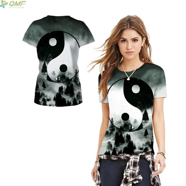 China Taiji diagrama camiseta casual manga corta o cuello la tinta ...