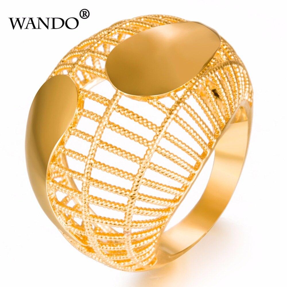 32476949d5cd WANDO de oro de calidad anillo de Color de lujo Pave Setting exagerar  anillos de las mujeres dama joyería regalo wr31