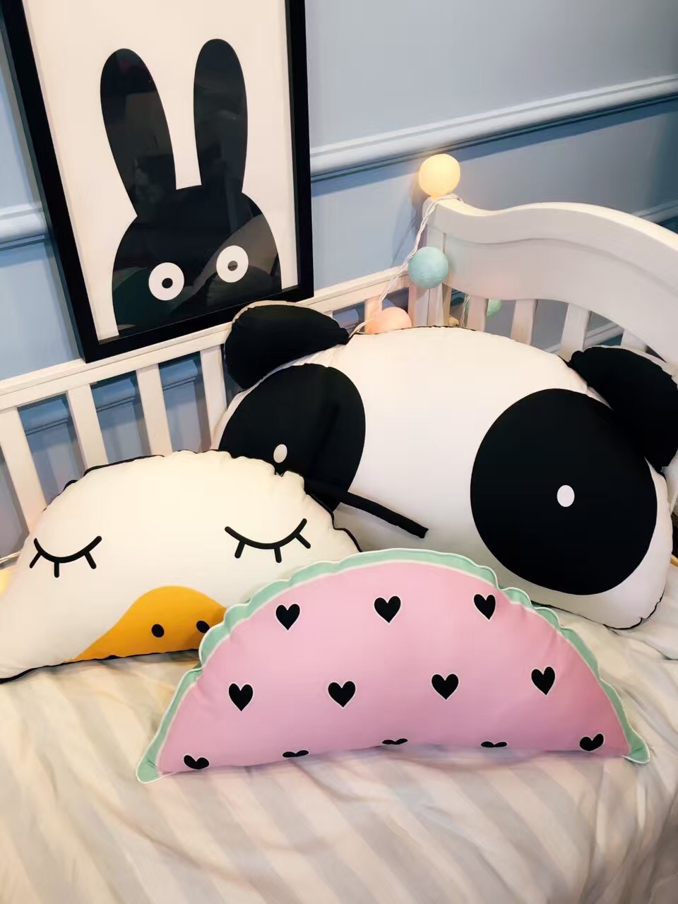 Watermelon Clouds And Four Animals Pillows
