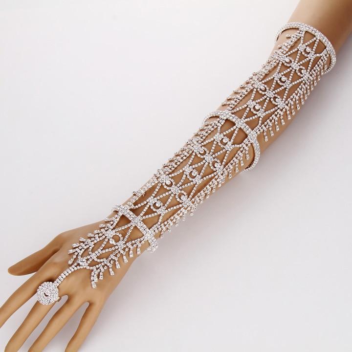 Women Copper Wrist Arm Band Bracelet Chains Slave Ring