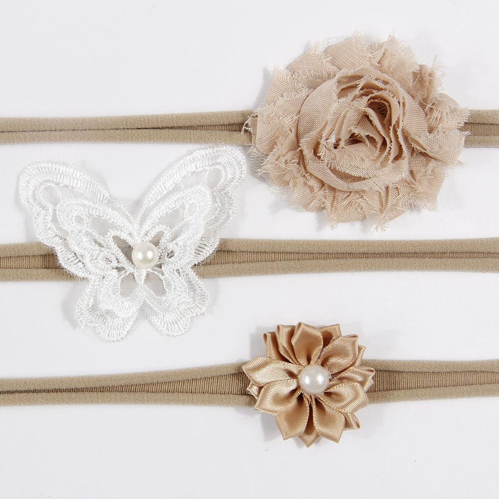 10 Sets/lot Shabby Flower Nylon Headbands For Kids Girls Handmade Cute Pearl Fabric Flowers Elastic Hairbands Hair Accessories