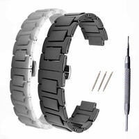 Ceramic Watchband 14*8 / 20*12 mm Watche Band Strap Belt Black With Folding Clasp / Buckle For Ballon Bleu Series + Tool