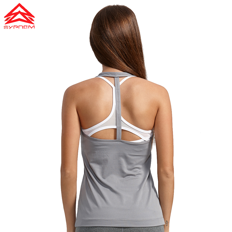 SYPREM Women Running Vest T - Back Dry And Light Training Vest High Elastic Sports vest Brand High Quality Running Vest,1FD0018